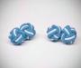 Gemelli in stoffa nodo azzurro/bianco