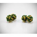 Gemelli in stoffa nodo giallo/verde