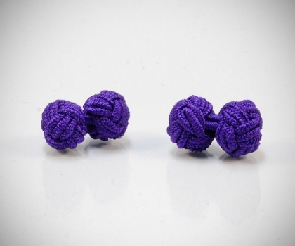 Gemelli in stoffa nodo viola