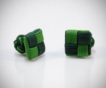 Gemelli in stoffa quadro gamma verde