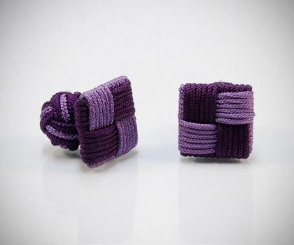 Gemelli in stoffa quadro viola/lilla