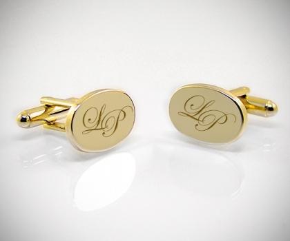 Gemelli personalizzati dorati con incisione ovale
