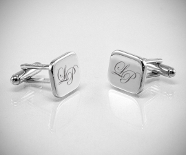 Personalizzati LeCuff, Gemelli personalizzati con incisione a punta di diamante di iniziali/testo/logo LeCuff