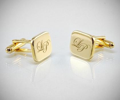 Gemelli personalizzati dorati con incisione rettangolo