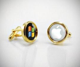 gemelli personalizzati oro LeCuff, Gemelli personalizzati con la tua immagine/logo/foto incastonata nei gemelli con resina lucida effetto vetro LeCuff