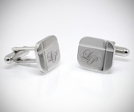 gemelli personalizzati oro LeCuff, Gemelli personalizzati con incisione a punta di diamante di iniziali/testo/logo LeCuff