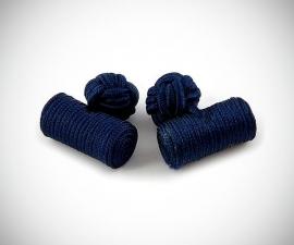 Gemelli in tessuto LeCuff, Gemelli in stoffa per camicia cilindro blu in seta tessuto LeCuff