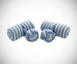 Gemelli in tessuto LeCuff, Gemelli in stoffa per camicia cilindro bianco azzurro in seta tessuto LeCuff