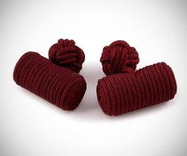 Gemelli in tessuto LeCuff, Gemelli in stoffa per camicia cilindro bordeaux in seta tessuto LeCuff