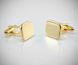Gemelli per camicia da polso in oro rettangolari lisci, gemelli da uomo