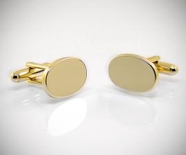 Gemelli per camicia da polso dorati ovali lisci, gemelli da uomo