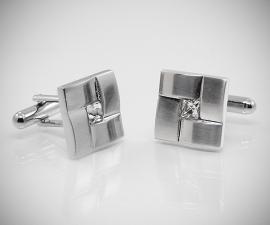 gemelli in acciaio LeCuff, Gemelli per camicia intreccio Swarovski