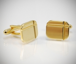 Gemelli per camicia diamantati a due righe dorati, gemelli da uomo