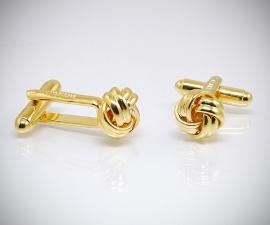 Gemelli per camicia con nodo dorati da polso, gemelli in oro