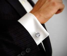 gemelli in acciaio - LeCuff Gemelli per camicia Swarovski fumè