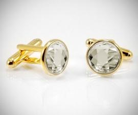 gemelli in oro LeCuff, Gemelli per camicia Swarovski fumè dorati da polso