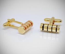 gemelli in oro LeCuff, Gemelli per camicia cilindro a righe smaltate dorati