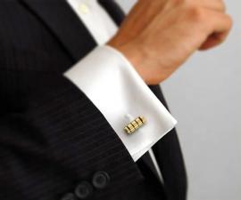 gemelli classici - LeCuff Gemelli per camicia cilindro a righe smaltate dorati