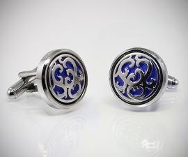 gemelli in acciaio LeCuff, Gemelli per camicia disco a fiori blu da polso da polso