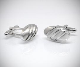 gemelli in acciaio LeCuff, Gemelli per camicia bombati satinati