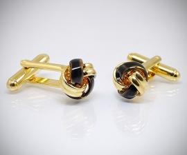 Gemelli per camicia da polso con nodo oro smaltato, gemelli in oro