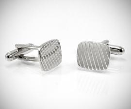 gemelli in acciaio LeCuff, Gemelli per camicia a righe diagonali da polso