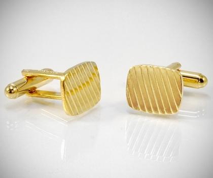 Gemelli per camicia a righe diagonali oro