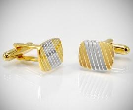 Gemelli per camicia a righe diagonali oro e argento da polso , gemelli in oro