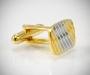 Gemelli per camicia a righe diagonali oro e argento da polso