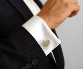 gemelli per polsini - LeCuff Gemelli per camicia a righe diagonali oro e argento da polso