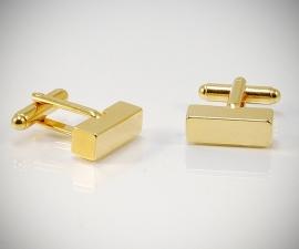 Gemelli per camicia barra quadrata oro da polso, gemelli in oro
