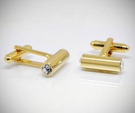 gemelli con swarovski LeCuff, Gemelli per camicia barra tonda e Swarovski® oro da polso
