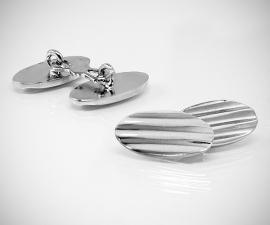 gemelli in acciaio LeCuff, Gemelli per camicia da polso doppi rigati ovali