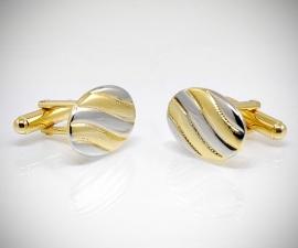 gemelli in acciaio LeCuff, Gemelli per camicia da polso a onde oro e acciaio