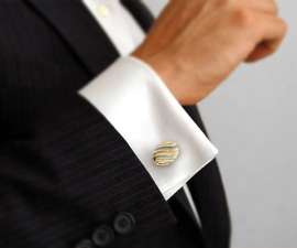 gemelli da uomo - LeCuff Gemelli per camicia da polso a onde oro e acciaio