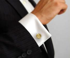 gemelli smoking - LeCuff Gemelli per camicia rotondi con bordi da polso in oro