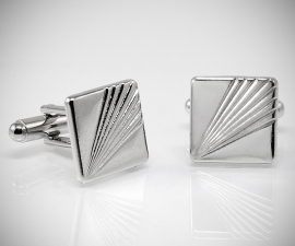 gemelli smoking LeCuff, Gemelli per camicia a righe diagonali in acciaio da polso
