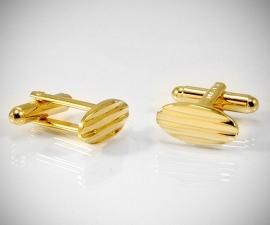 gemelli smoking LeCuff, Gemelli d polso per camicia ovalini a righe in oro