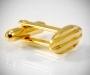 Gemelli d polso per camicia ovalini a righe in oro