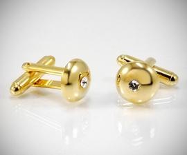 Gemelli con brillanti LeCuff, Gemelli per camicia da polso Swarovski® bombati in oro