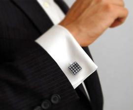 gemelli da sposo - LeCuff Gemelli per camicia da polso quadrettini smalto nero