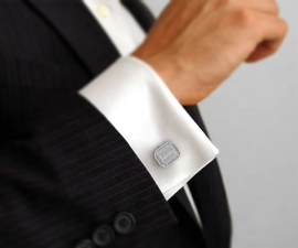 gemelli da uomo - LeCuff Gemelli per camicia diamantati 4 righe da polso