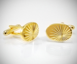 Gemelli per camicia dorati LeCuff, Gemelli da polso per camicia ovali diamantati oro