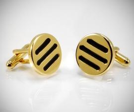 gemelli in acciaio LeCuff, Gemelli per camicia da polso tre righe nere in oro