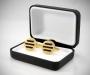 Gemelli per camicia da polso tre righe nere in oro
