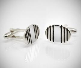 gemelli da uomo LeCuff, Gemelli per camicia ovali righe acciaio
