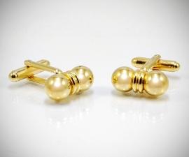 gemelli in acciaio LeCuff, Gemelli per camicia a due sfere dorato da polso