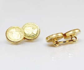 gemelli per polsini LeCuff, Gemelli per camicia da polso in oro da polso doppi con moneta
