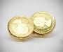 Gemelli per camicia da polso in oro da polso doppi con moneta