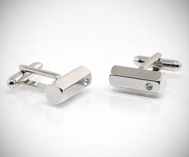 gemelli in acciaio LeCuff, Gemelli per camicia barra esagonale con Swarovski da polso